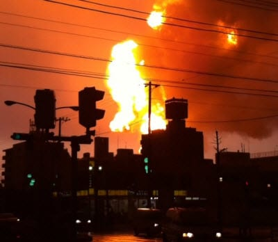 Japan Earthquake 2011 Oil Refinery Fire