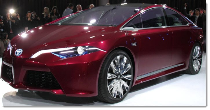 Toyota shows off the new NS4, a possible successor to the popular Prius, at the Detroit Motor Show