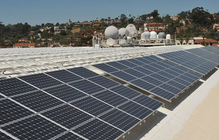 Solar Panels on roof top of Space and Naval Warfare Command Headquarters