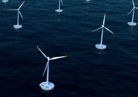 Floating wind turbines wind energy