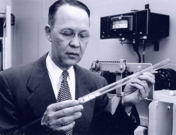Calvin S. Fuller working on the first solar cell