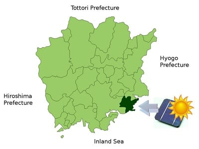 Solar Energy - Map Highlighting Setouchi in Okayama Prefecture