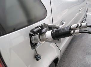Hydrogen fuel car at fueling station
