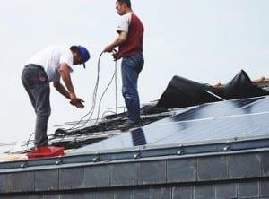 Solar Energy - Installation of solar panels on roof
