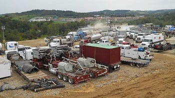 Fracking operation at Marcellus Shale well
