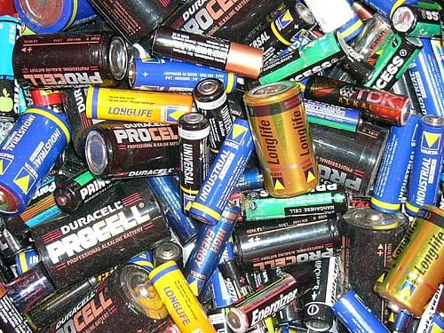 Battery Recycling - A pile of various batteries