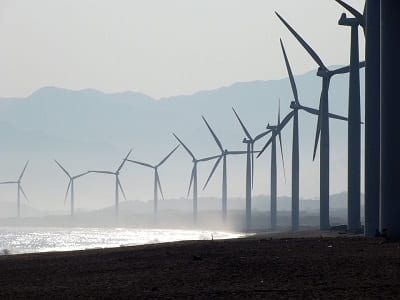 Offshore wind Energy - wind turbines on beach