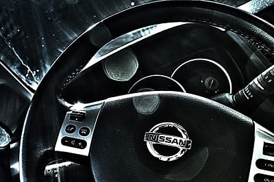 Solid Oxide Fuel Cell System Research by Nissan - Nissan logo on steering wheel
