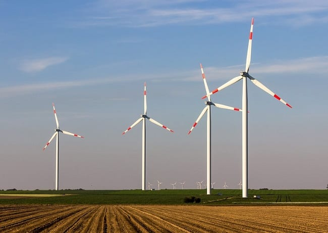 Wind Energy System - Wind Turbines in Field