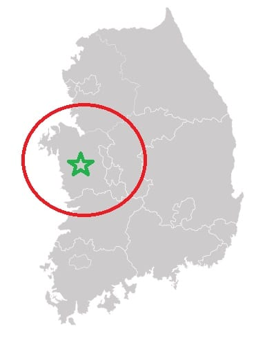 Fuel Cell Vehicles Hub - South Chungcheong Marked on Map of South Korea