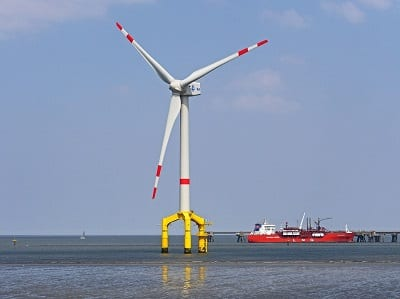 Offshore Wind Energy Project - Wind Turbine on water