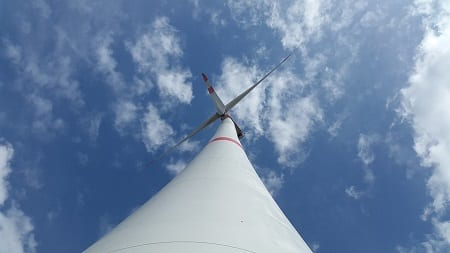 Wind Energy - Looking up at Wind Turbine