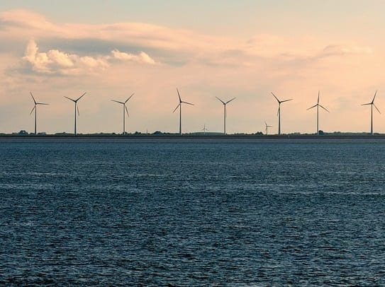 Offshore Wind Energy - Wind turbine farm on water