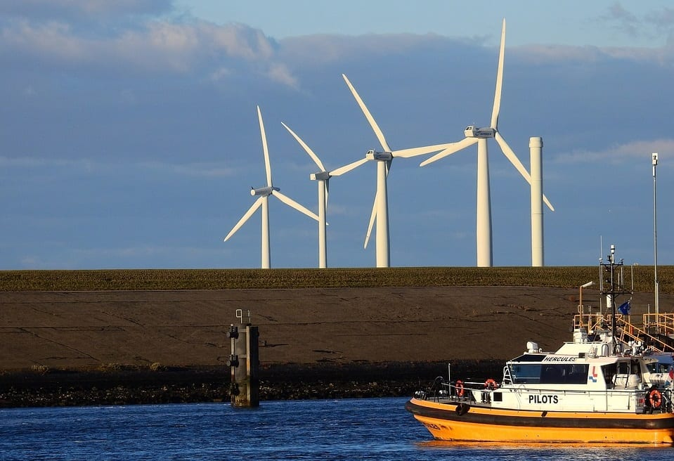 Offshore Wind Energy - Win Turbines and Boat