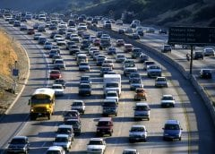 Hydrogen fuel cells - Cars on freeway in California