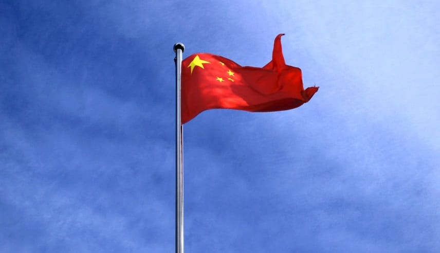 Chinese Flag Blowing in Wind - Wind Energy