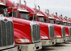 Fuel cell Trucks - Line of Red Trucks