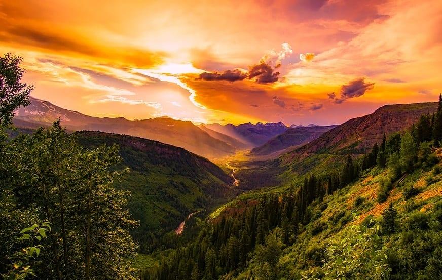 Solar Energy Industry - Montana Landscap at Sunset