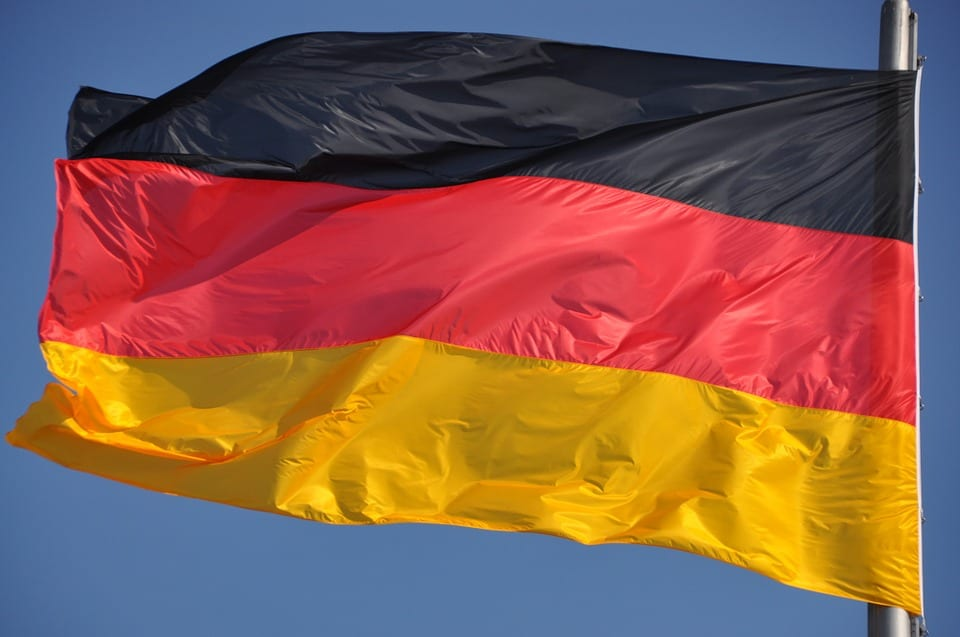Wind Energy - German Flag Blowing in Wind