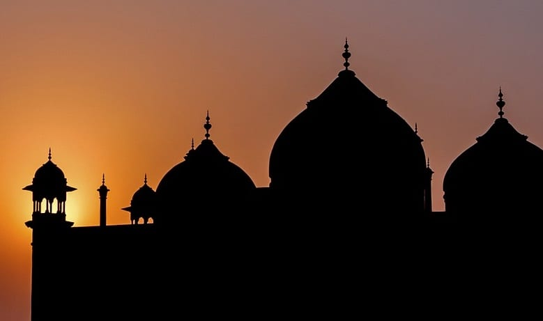 Solar Energy - Sunset Behind Taj Mahal, India