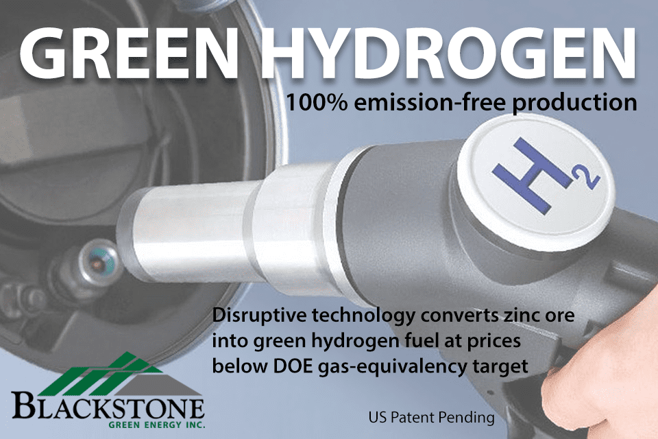 Blackstone Green Energy Develops Patent-Pending Process for Converting Zinc Ore into Green Hydrogen Fuel