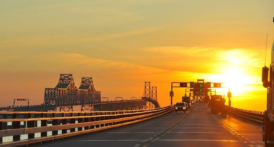 Solar Energy - Bridge in Maryland at Sunset