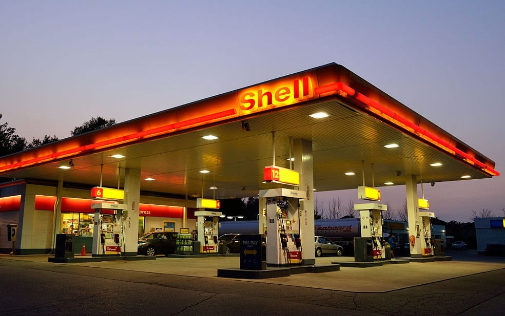 Clean Vehicles - Image of Shell Gas Station at dusk