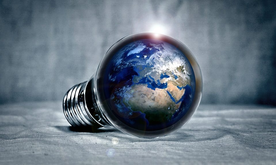 Energy Storage Solution - Lightbulb with globe - earth