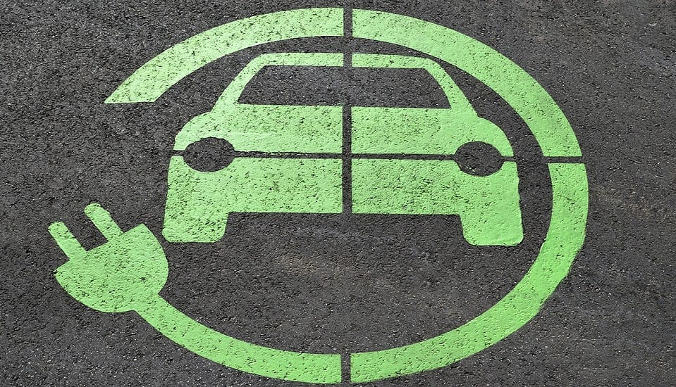 Electric Cars Goal - EV sign on road