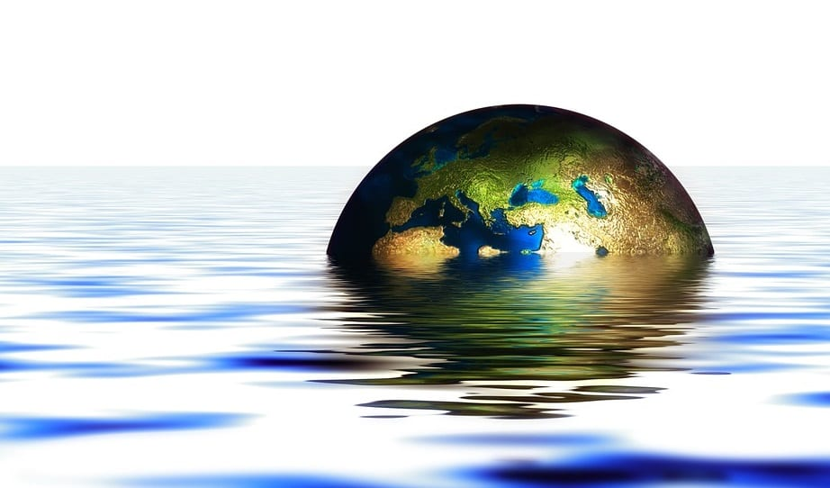 Global warming - Earth immersed in water