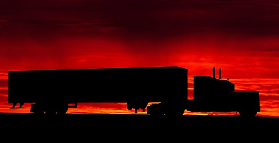 Nikola Fuel cell trucks - Truck on road at sunset