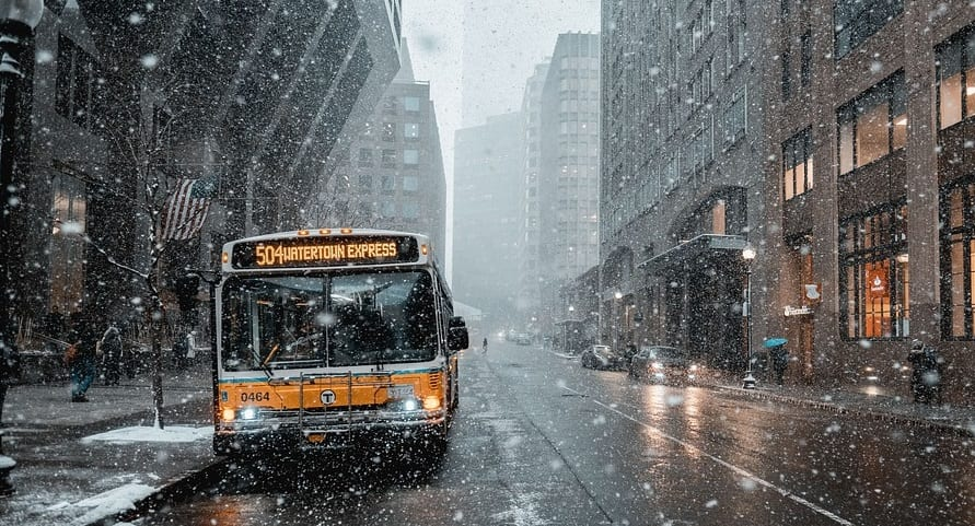 Electric buses - Transit Bus in Winter