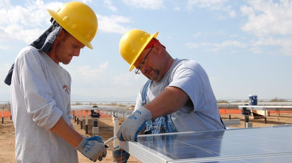 Stolen Solar Panels - Construction workers installing solar panels