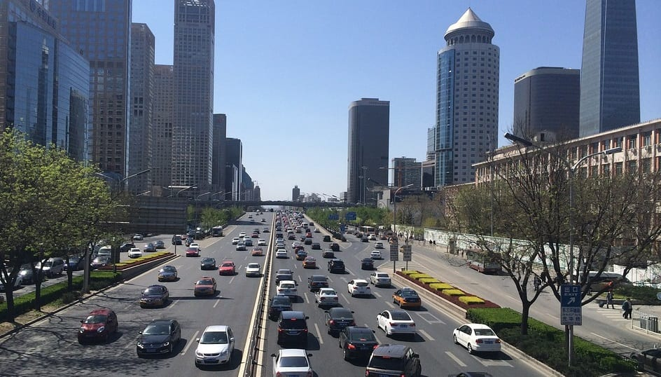China new energy vehicles - Cars on Road in Beijing