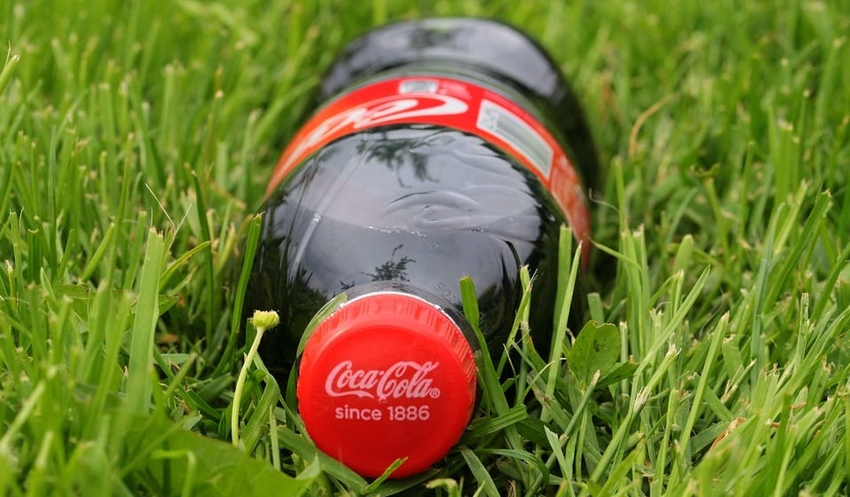 Coca Cola recycling - Bottle of Coke in Grass