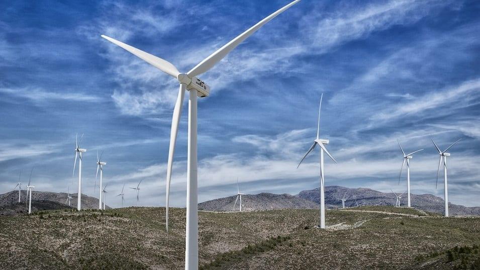 Mexican wind farm - wind trubines in field