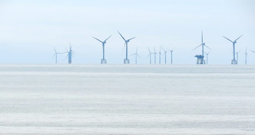 offshore wind turbines on water
