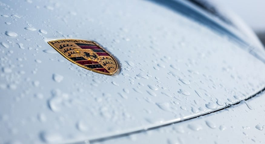 Porsche electric vehicle - Porsche logo on car