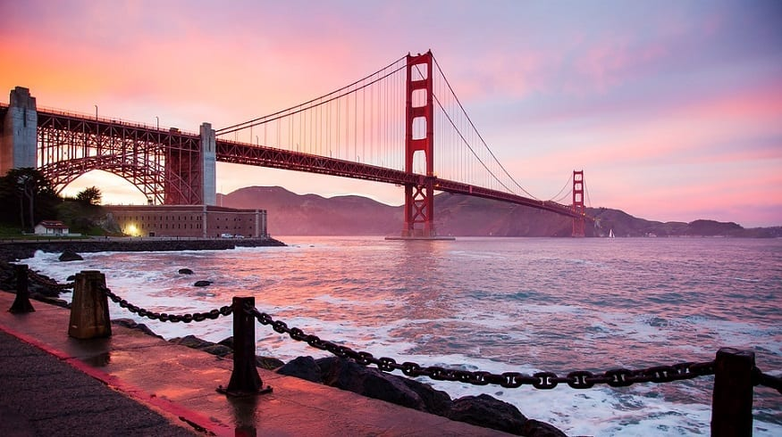 Clean hydrogen fuel production - San Francisco Bay - Golden Gate Bridge