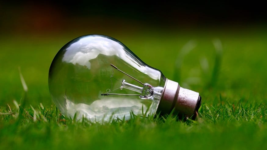 Renewable Energy - Light bulb in grass