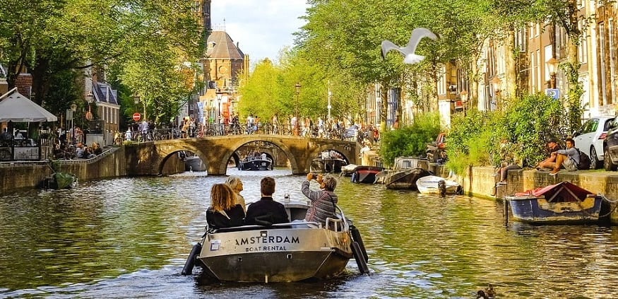 Hydrogen ship - Boat sailing in Amsterdam canal