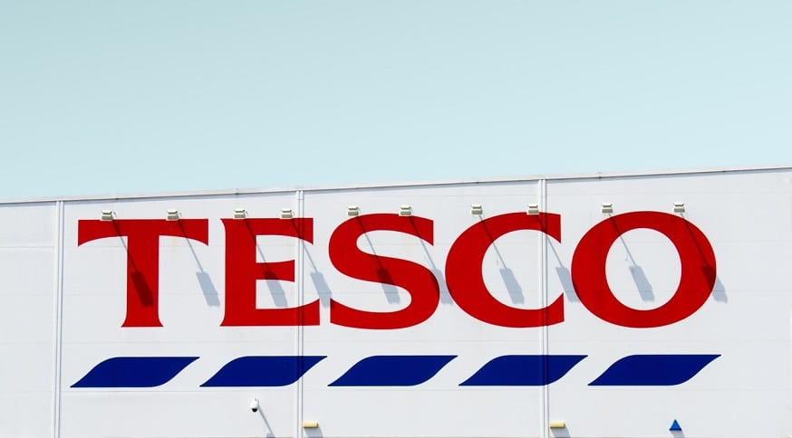 Plastic packaging recycling - Tesco store sign