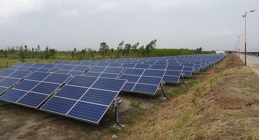 Solar energy capacity - row of solar panels