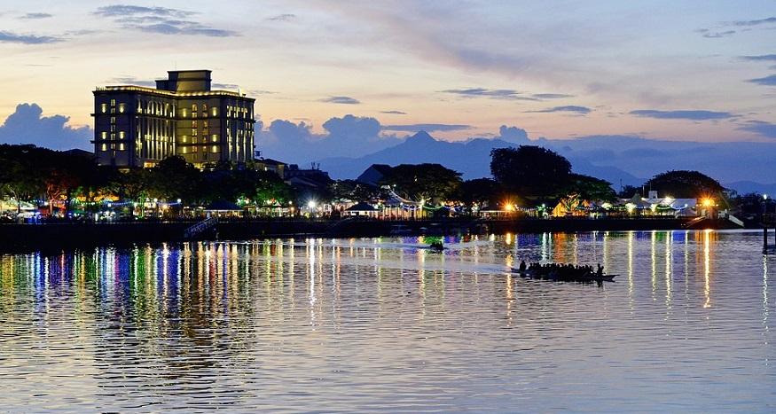 three-in-one refueling stations - sunset in Kuching, Sarawak, Malaysia