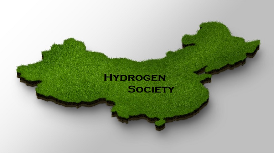 China hydrogen society - map of china - green