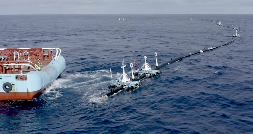 The Ocean Cleanup Project - Floating Boom on water - The Ocean Cleanup YouTube