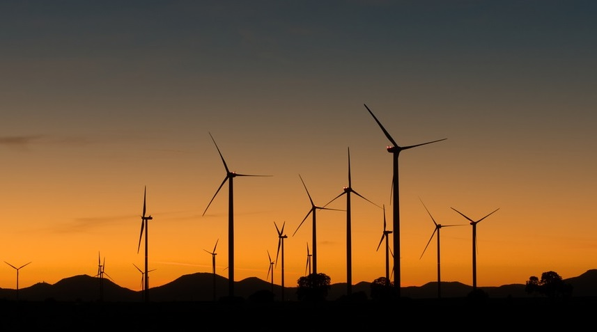 Kenya wind power - Wind turbine at sunset