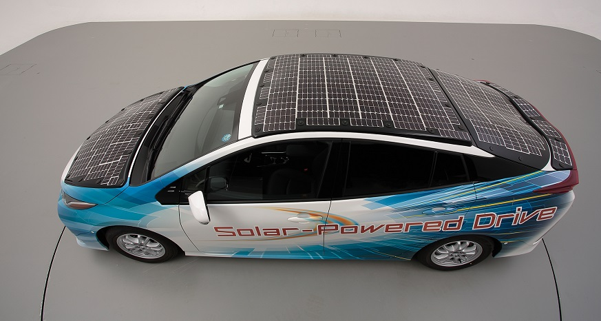 Solar-powered EV - Prius PHV demo model - Toyota