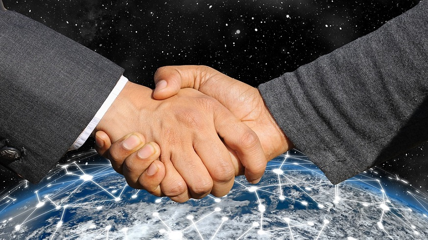 Renewable hydrogen and fuel cells partnership - handshake - business