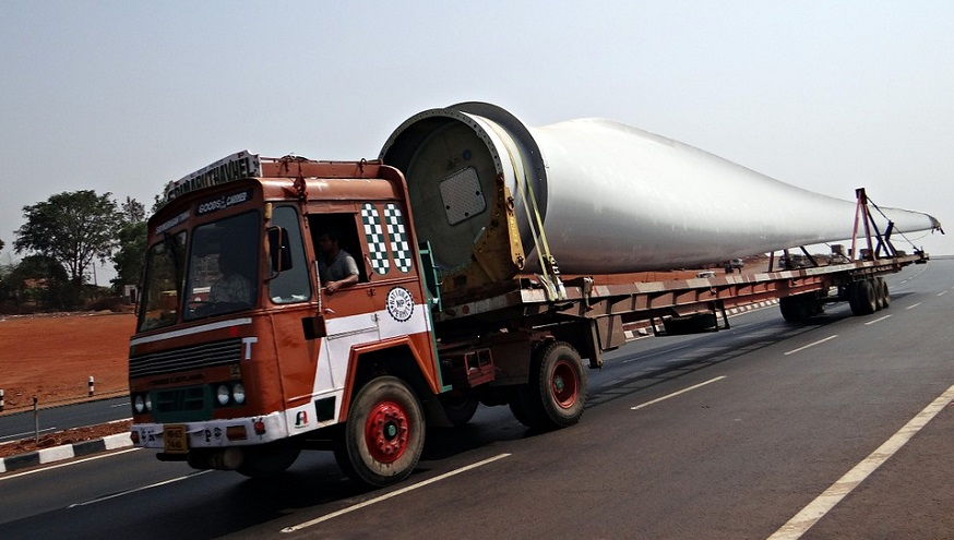 Wind turbine waste - turbine blade on truck